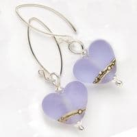 Sea Mist Heart Shaped Earrings | Glass Jewellery | Julie Fountain
